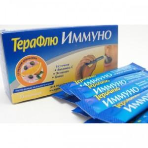 Терафлю Иммуно выпускается в форме пакетиков, которые можно употреблять и не разводить с водой