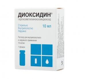 Диоксидин в составе сложных капель